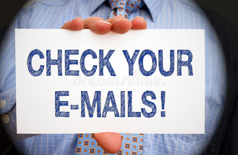 Check your e-mails stock photography