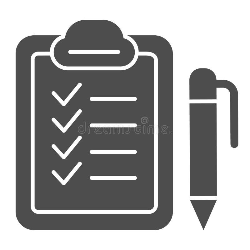 Checkboard und feste Ikone des Stiftes Checkliste mit der Stiftvektorillustration lokalisiert auf Weiß Anmerkung Glyph-Artentwurf stock abbildung