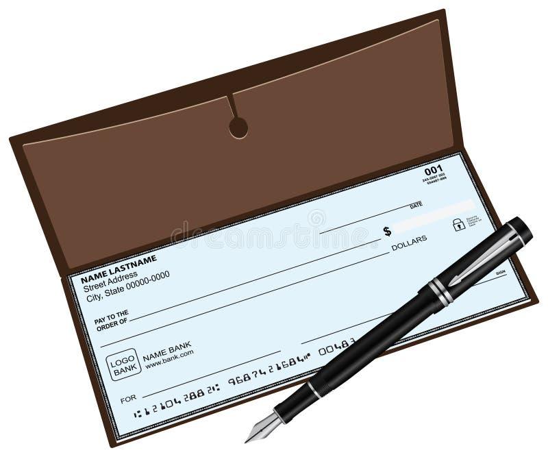 Checkbook fountain pen stock illustration