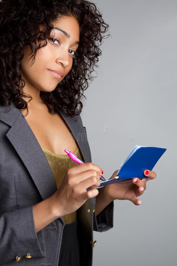 Checkbook Woman stock photo