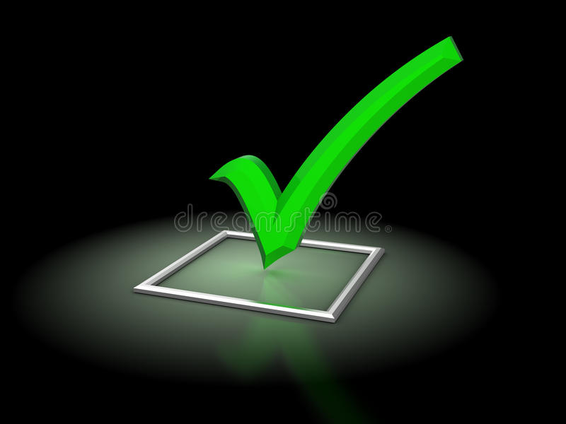 Checkbox. 3d illustration of checkbox with glowing green tick, over black background stock illustration