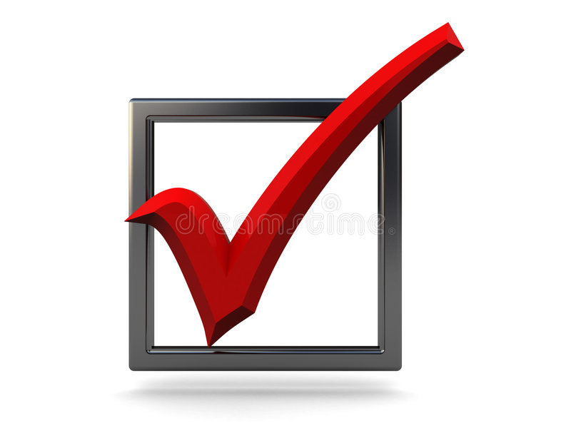 Checkbox. 3d illustration of metal checkbox with red tick stock illustration