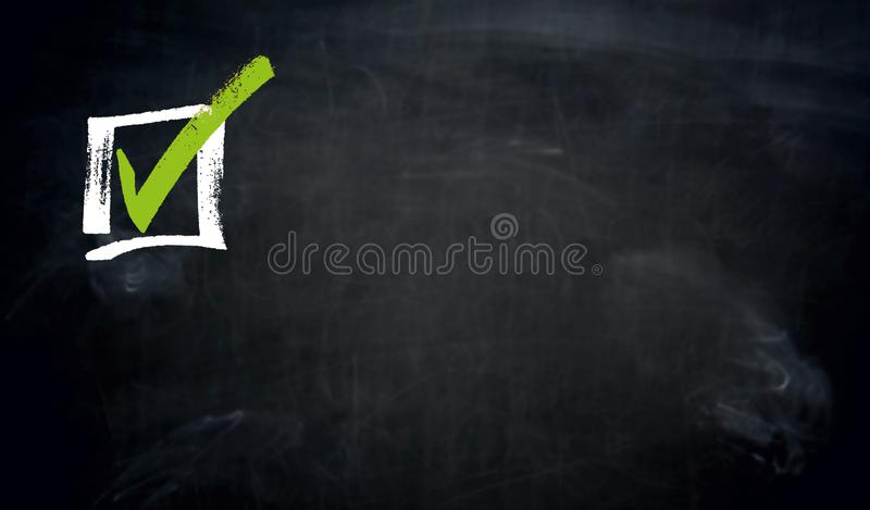 Checkbox chalkboard concept background royalty free stock images