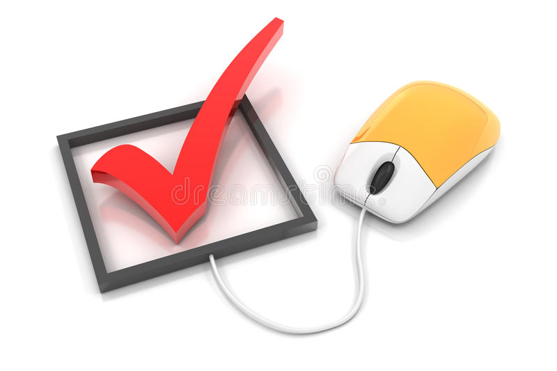 Checkbox with computer mouse, 3d render. Checkbox connected to computer mouse, 3d render royalty free illustration