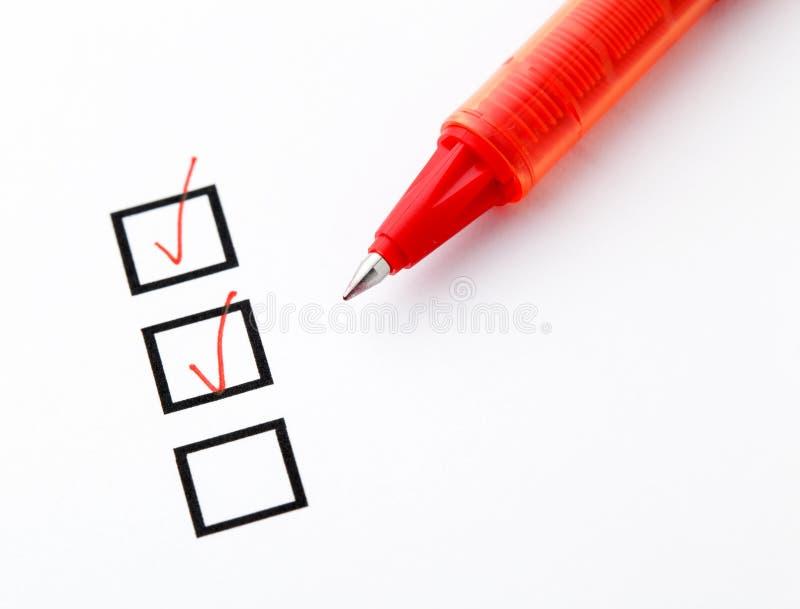 Checkbox en pen stock afbeeldingen