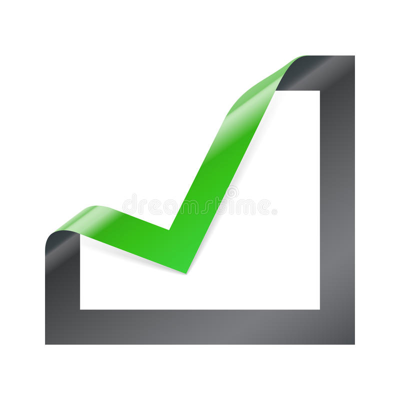 Checkbox icon with angle folded. On square paper stock illustration