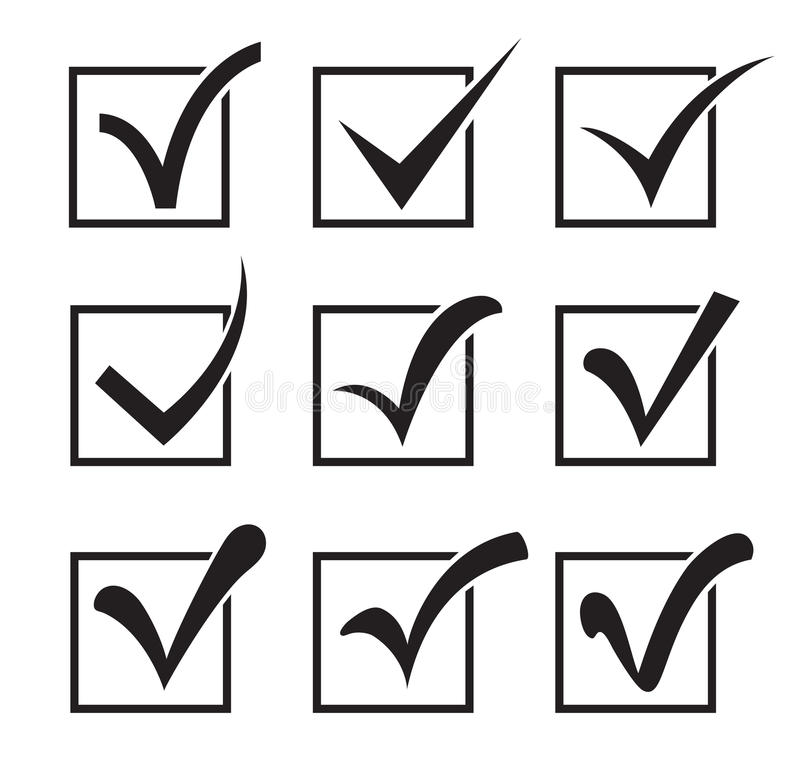 Checkbox icons. Nine checkbox icons different shapes on a white background royalty free illustration