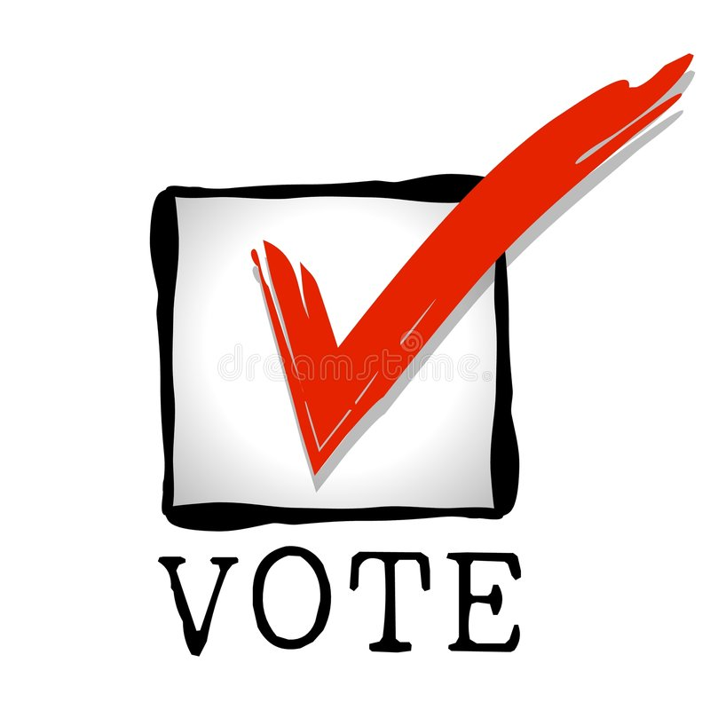 Checkbox Red Vote. A simple illustration featuring a checkbox with red checkmark and the word VOTE underneath vector illustration