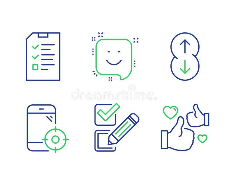 Checkbox, Rol neer en geplaatste Glimlachpictogrammen Gesprek, Seo-telefoon en zoals tekens Vector royalty-vrije illustratie