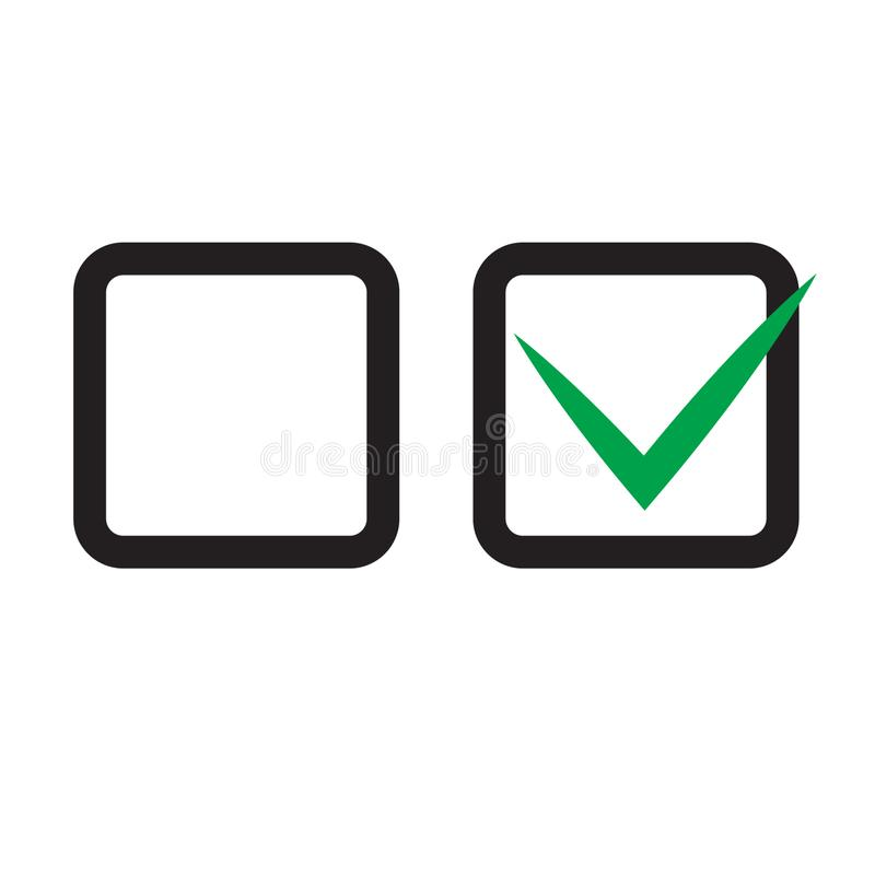 Checkbox set with blank and checked checkbox vector icon. Vector illustration on white background stock illustration