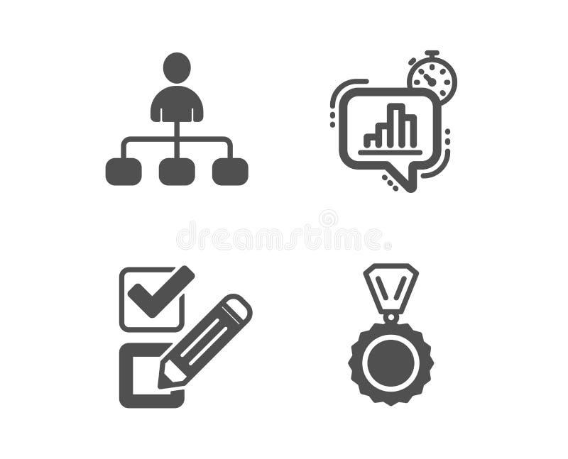 Checkbox, statystyk zegar i zarz?dzania ikony, Medalu znak Ankieta wyb?r, Wzrostowa mapa, agent Zwyci?zca wektor royalty ilustracja
