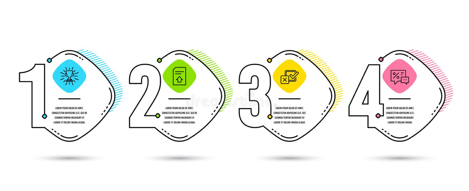 Checkbox, Trophy and Upload file icons. Discounts sign. Survey choice, Winner cup, Load document. Best offer. Vector. Infographic timeline set of Checkbox vector illustration