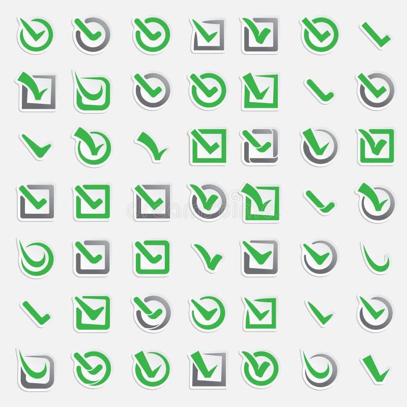 Checkboxabstimmung markiert Ikonensatz ?berpr?fen Sie Symbol der Abstimmungszeichen-Wahl ja Korrigieren Sie Abstimmungsform der r lizenzfreie abbildung