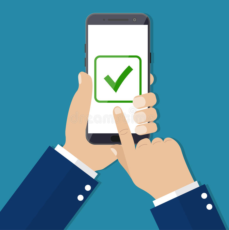Checkboxes on smartphone screen. royalty free illustration