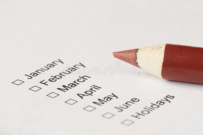Checkboxes To Choose Month Stock Photos