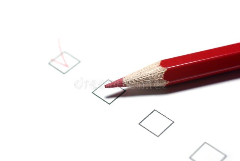 Checkboxes und Bleistift. stockfotos