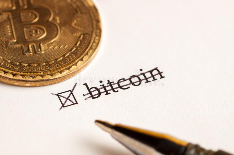 Checked checkbox with word bitcoin at wait background. questionnaire concept royalty free stock photo