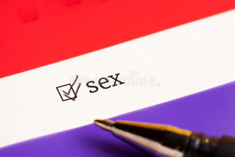 Checked checkbox with word sex. questionnaire concept royalty free stock photography