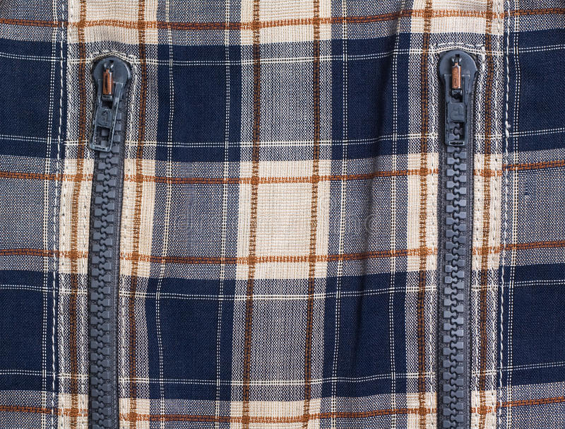Download Checked Cloth With Zippers Stock Photo - Image: 12777110
