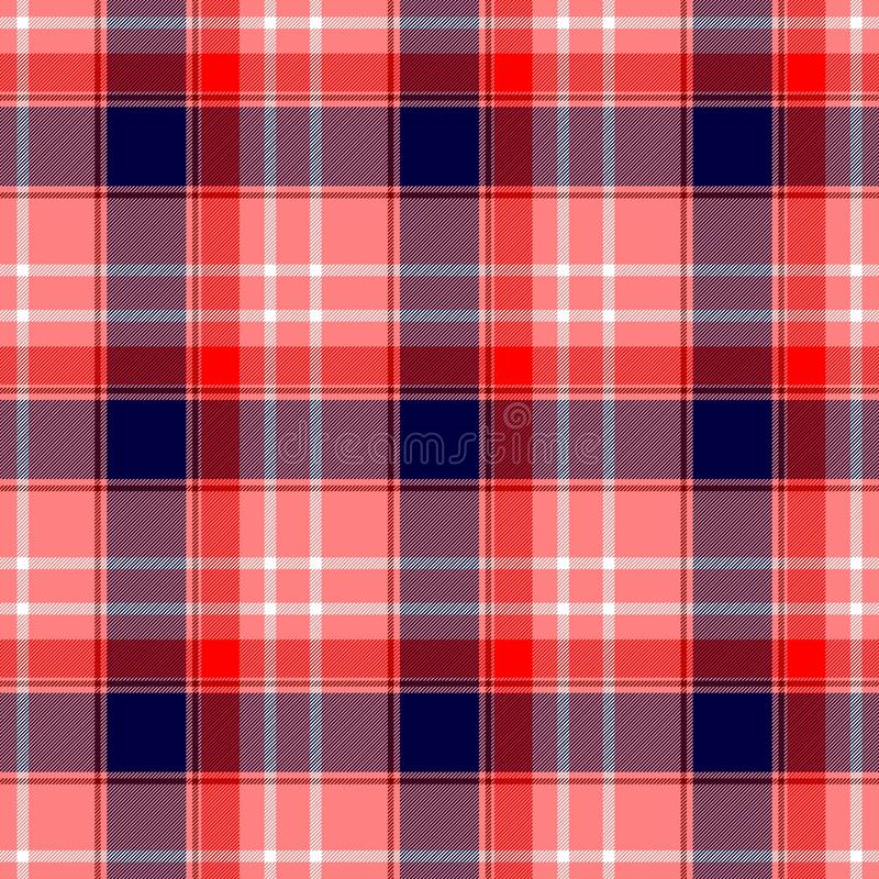 Checked diamond tartan scotch kilt fabric seamless pattern texture background - color strawberry red, coral, peach, salmon stock illustration