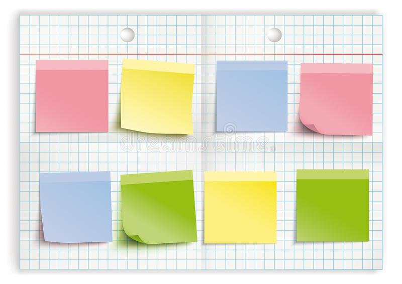 Checked Folded Paper Colored Stickers vector illustration