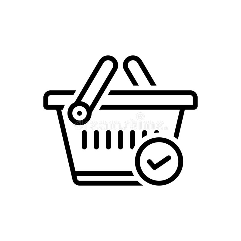 Black line icon for Checked, merchandise and basket. Black line icon for Checked, buying, commerce, grocery, trolly, store,  merchandise and basket royalty free illustration