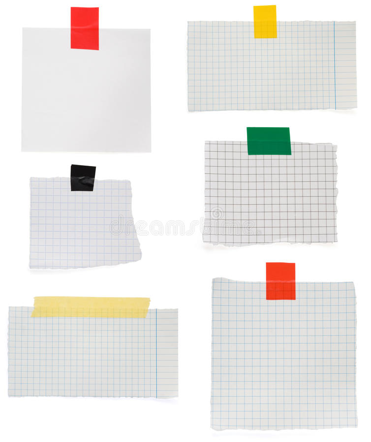 Checked note paper and adhesive tape. Checked paper and stripe of adhesive tape on white background royalty free stock photo