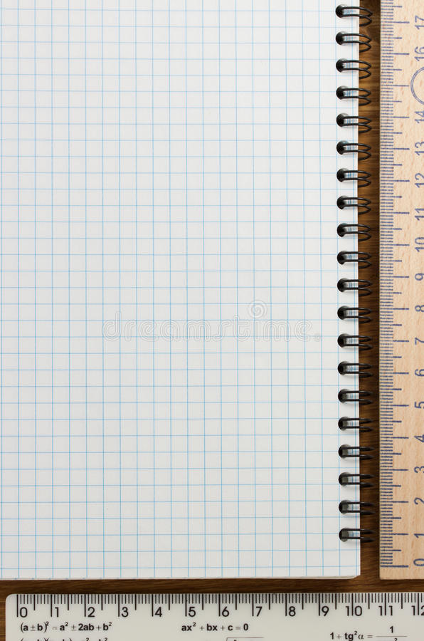 Download Checked notebook on wood stock photo. Image of page, border - 39503836