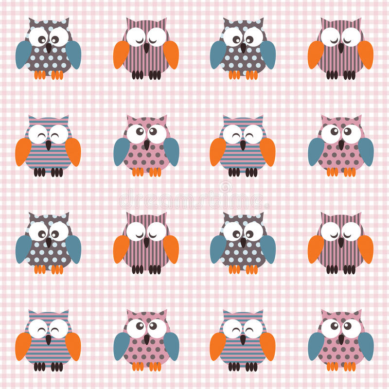 Checked pattern with cute owls