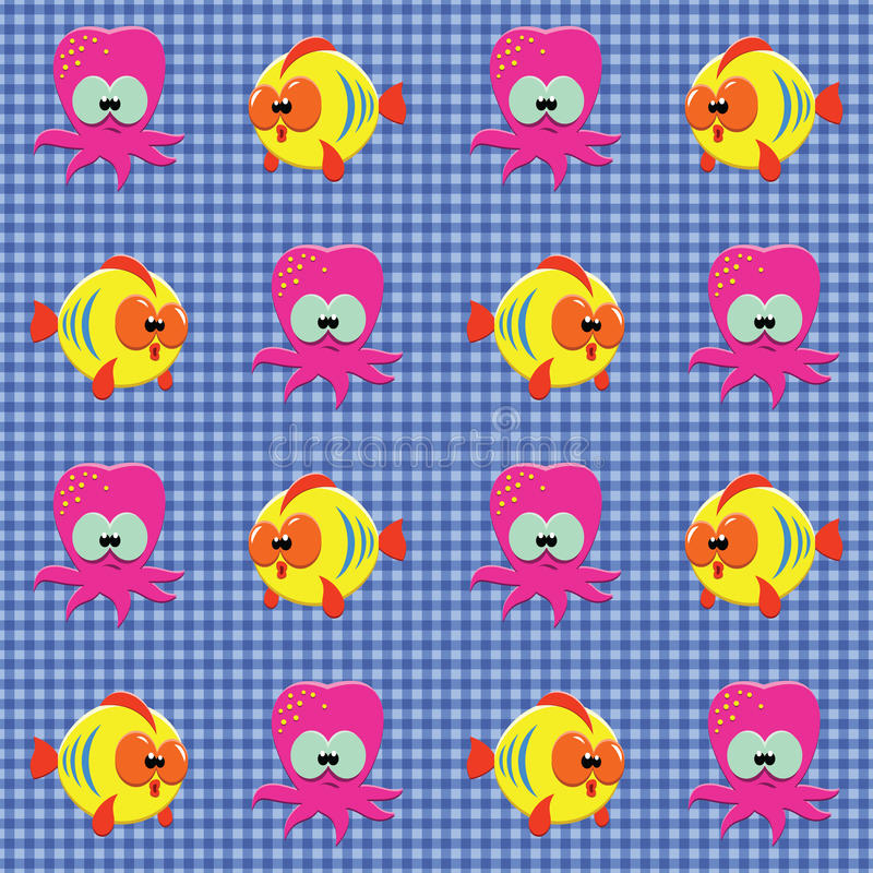 Download Checked Pattern With Doodle Sea Creatures Stock Vector - Illustration of repetition, funny: 19994236