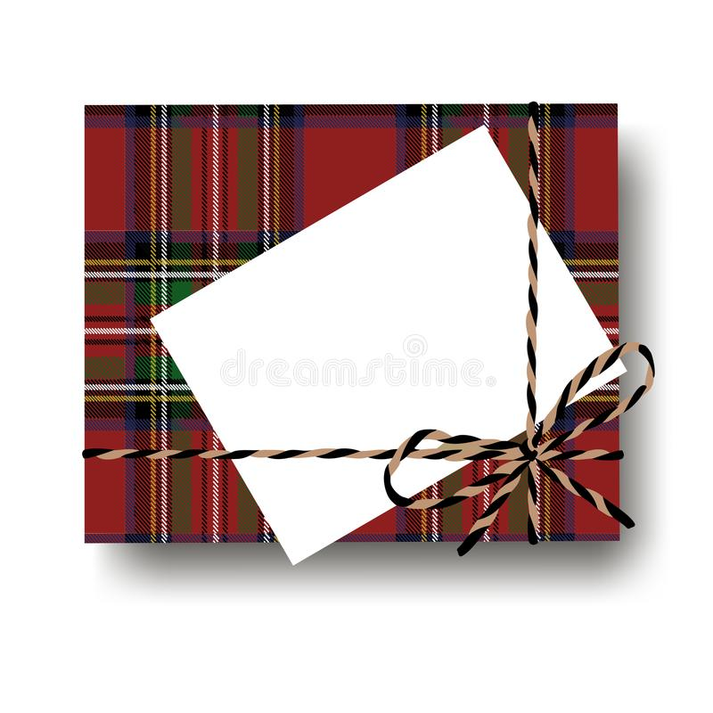 Checked tartan plaid gift present box with tied string bow and blank note with copy space. Wrapping diy idea. Vector illustration. Top view stock illustration