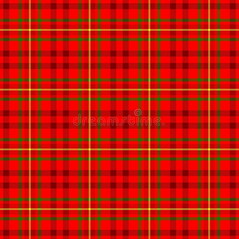 checked tartan plaid scotch kilt fabric seamless pattern texture background - bright and dark red, yellow and green color stock illustration