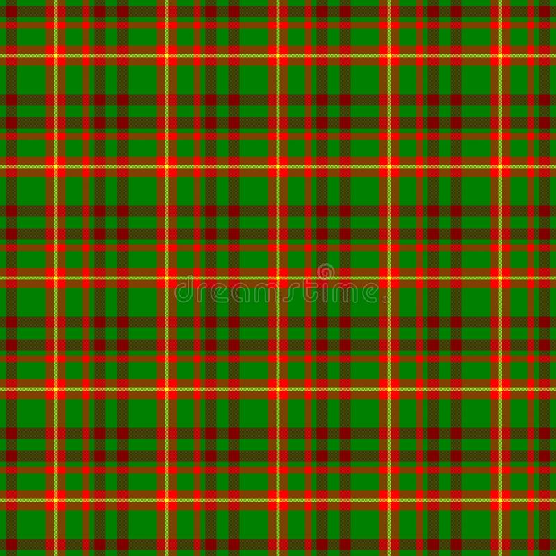 Checked tartan plaid scotch kilt fabric seamless pattern texture background - medium green, bright and dark red, yellow co vector illustration