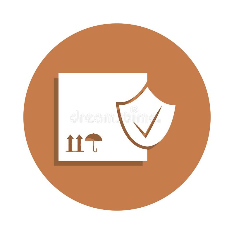 checked transport box icon in badge style. One of logistic collection icon can be used for UI, UX vector illustration