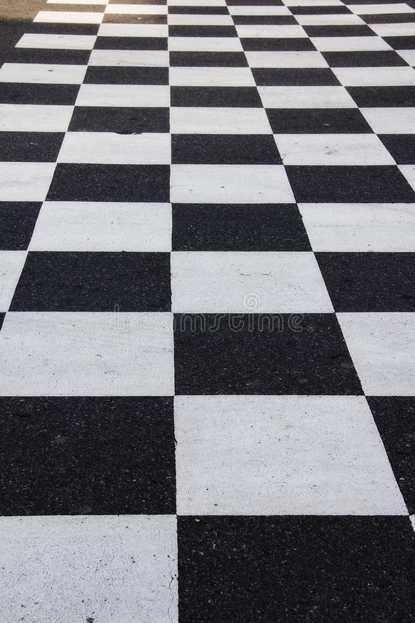 Checker board ground in the road at the Nascar Hall of Fame in Charlotte North Carolina stock image