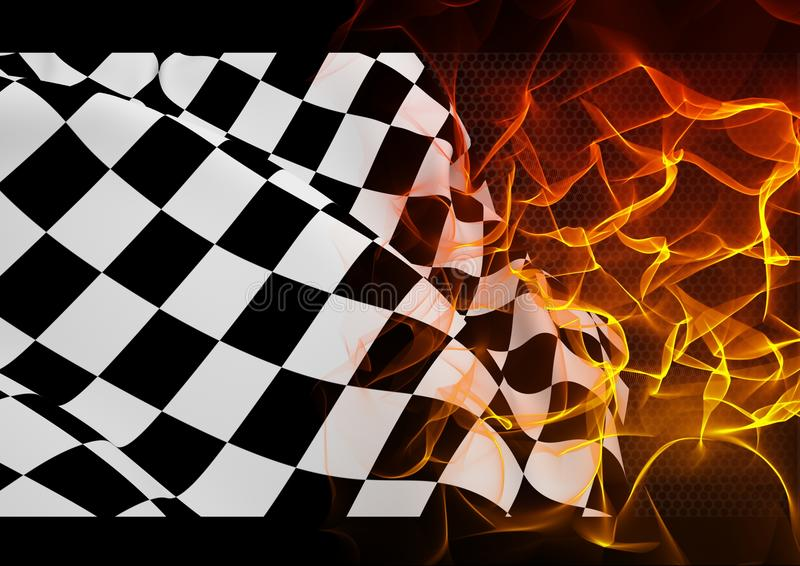 Checker flag and fire royalty free illustration