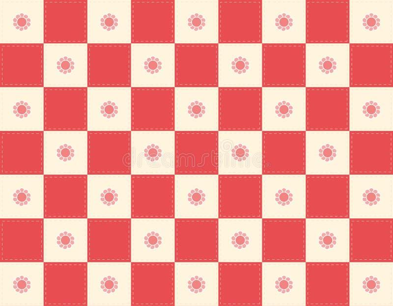 Checker+flowers rosso illustrazione di stock