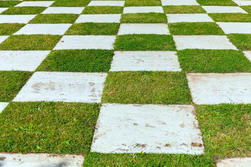A checker matrix of grass and rustic clay tile in an outdoor park. Japanese garden. Buenos Aires. Stock photo stock photography
