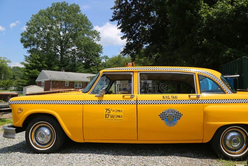 Checker taxi taksówka produkująca Checker Jadący Korporacja w Hewitt, NJ zdjęcie stock