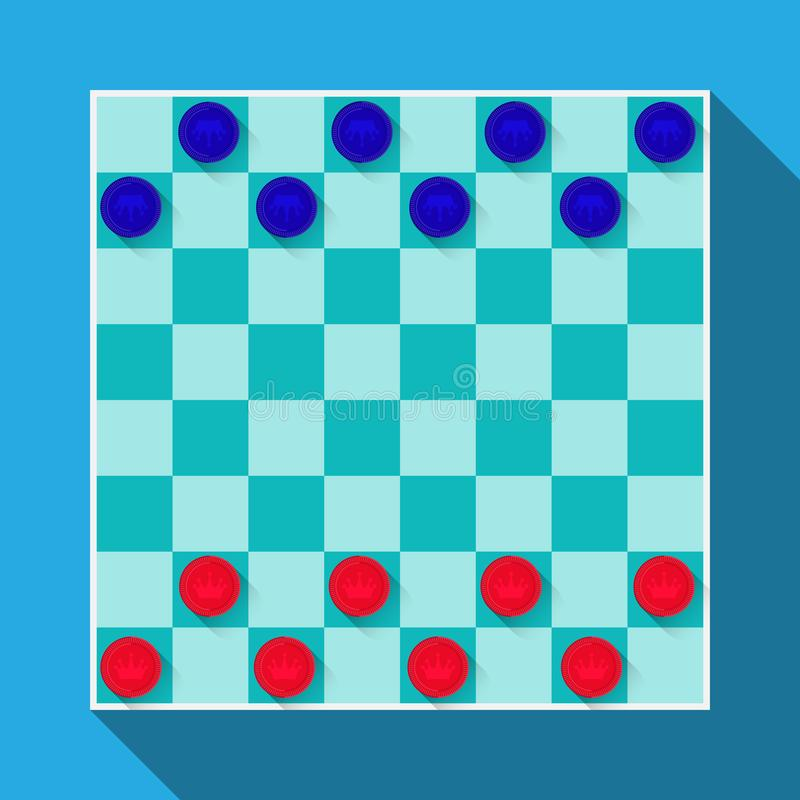 Checkerboard game with checkers. Vector flat design stock illustration