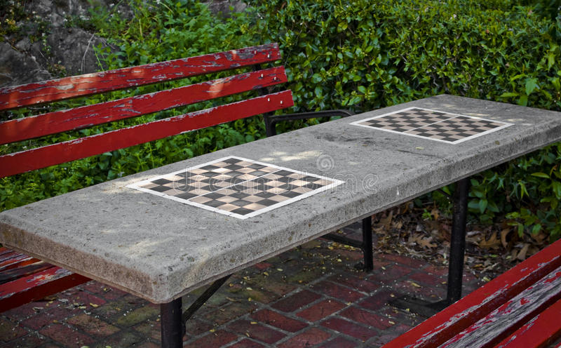 Checkerboard Parkbench royalty free stock images