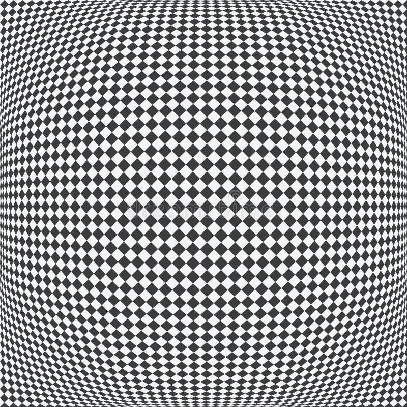 Checkered картина сферы, черно-белая приданная квадратную форму предпосылка 3D r иллюстрация штока