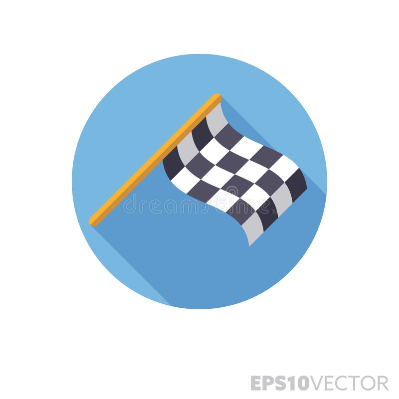 Checkered участвуя в гонке значок вектора тени co0lor плоского дизайна флага длинный иллюстрация вектора