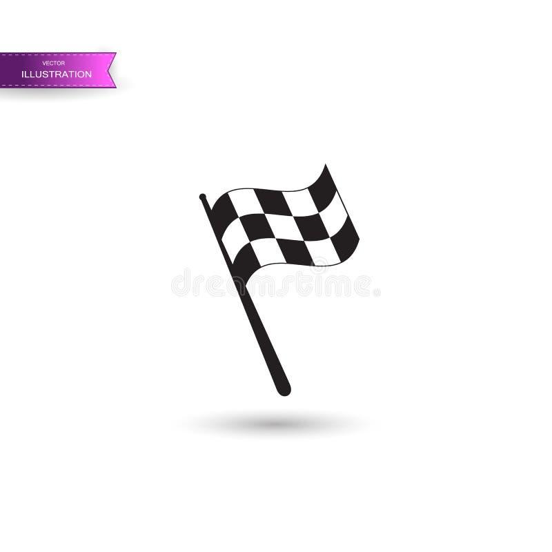Checkered участвуя в гонке значок флага Начало участвовать в гонке автомобиля и moto флага Знак победы конкуренции спортивной маш иллюстрация вектора