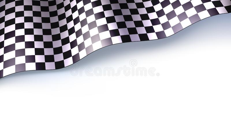 Checkered флаг для автогонок или ралли motorsport изолированный на белом bacground Трехмерная иллюстрация вектора для иллюстрация штока