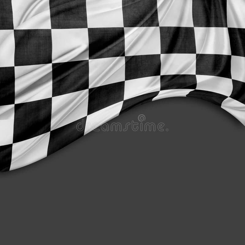 Checkered флаг на сером цвете стоковые изображения