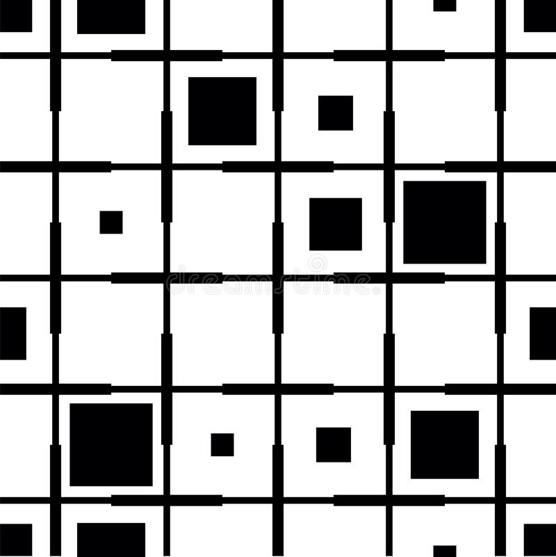 Checkered from black and white squares pattern. Geometric background black and white color. Square background in stock illustration