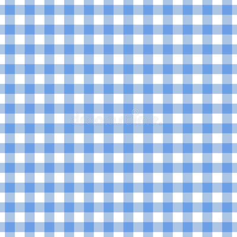Checkered blue tablecloth seamless pattern. Gingham plaid design background. royalty free illustration