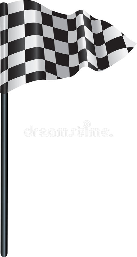 Checkered, chequered golf flag. Golf flag with a checkered, chequered flag on to represent finishing line vector illustration