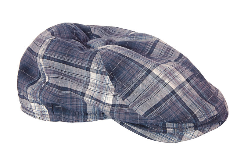 Checkered cloth cap stock image